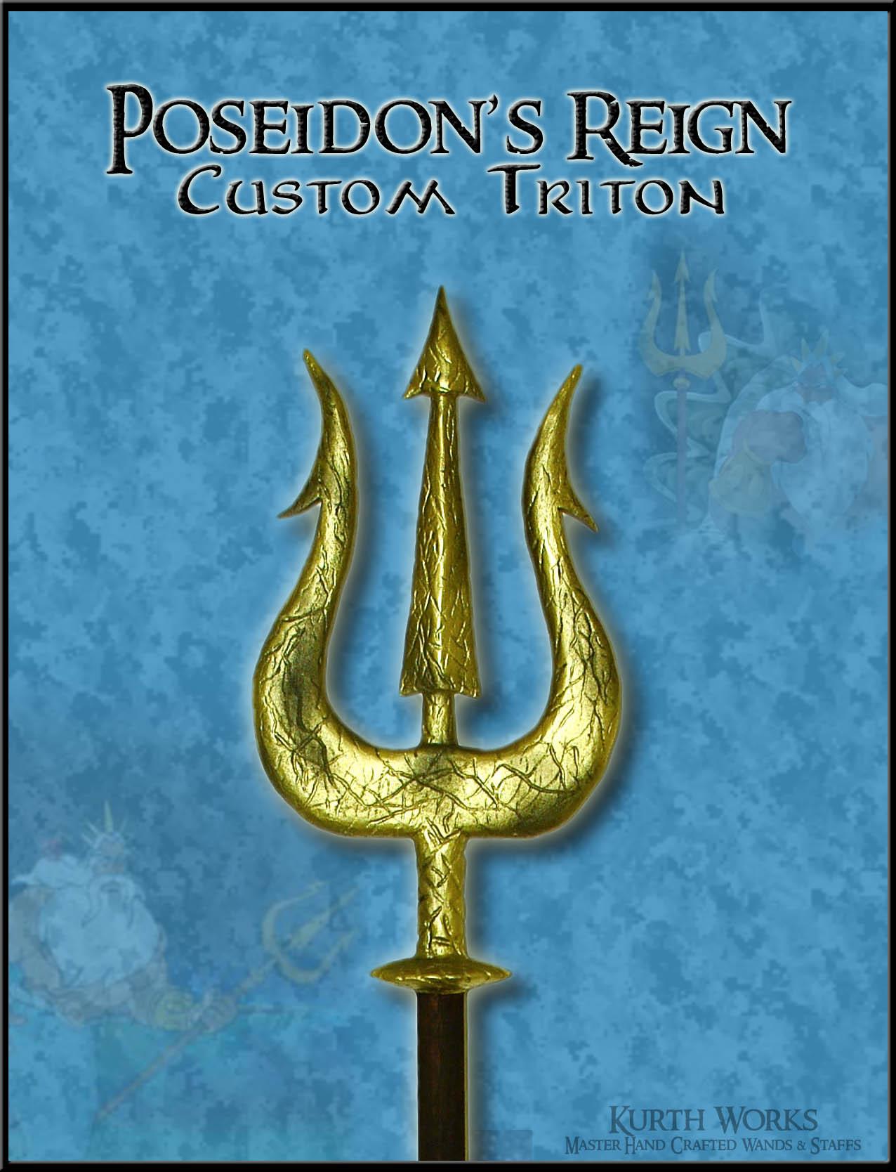 Wooden staff designs kurth works custom hand carved magic wizard wands - Fan Art Poseidon S Reign Custom Triton